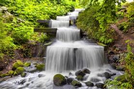 Cascade waterfall in Planten un Blomen park in Hamburg