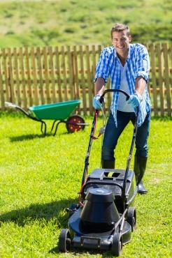 man lawn mowing