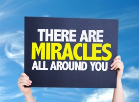 There Are Miracles All Around You card with sky background