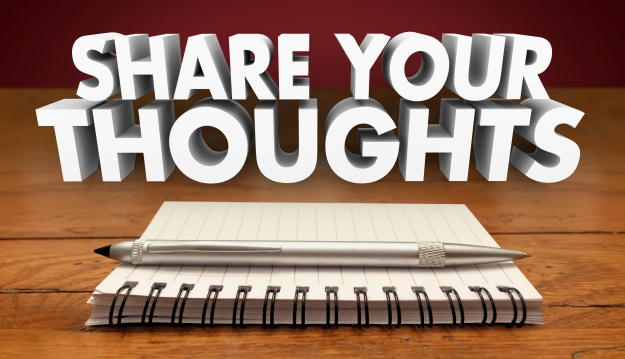 Share Your Thoughts Comments Review Feedback Notebook Pen