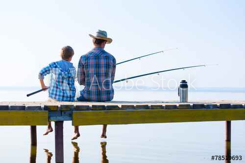 DAD SON FISHING ON DOCK.071416