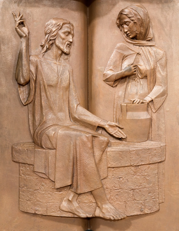 Padua - Jesus and the Samaritan woman metal relief